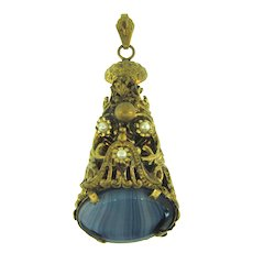 Vintage unusual large cone shaped Pendant with /art glass stone and imitation pearls