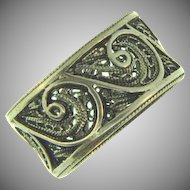 Vintage filigree silver wide band ring