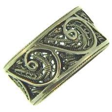 Vintage filigree silver wide band ring