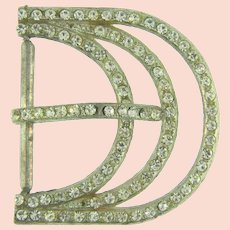 Vintage Art Deco pot metal Belt Buckle with crystal rhinestones