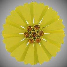 Vintage 1960's metal flower Brooch with amber rhinestones