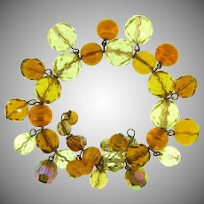 Vintage memory wire Bracelet with crystal amber, AB, and art glass beads