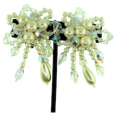 Vintage large clip back Earrings with crystal beads and imitation pearls