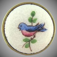Vintage guilloche button Brooch with blue bird design