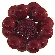 Vintage flower brooch with red enamel