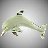 Signed Beau sterling figural dolphin Brooch