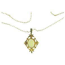 Vintage pendant gold filled choker Necklace with opal stone