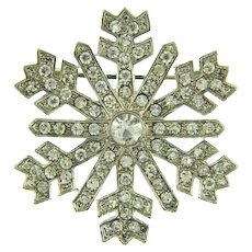 Signed Monet snowflake Brooch with crystal rhinestones