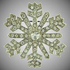 Signed Monet snowflake Brooch with crystal rhinestones