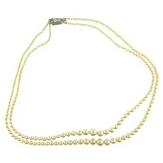 Vintage double strand imitation champagne colored pearl Necklace