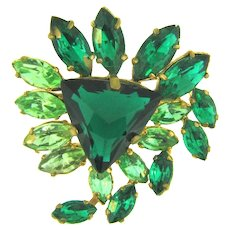 Vintage 1950's Brooch with shades of green rhinestones