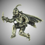Marked Sterling vintage large winged fairy Brooch
