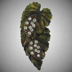 Vintage double leaf Dress Clip with crystal rhinestones