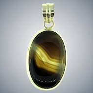 Stamped 925 sterling silver Pendant with banded agate stone