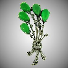 Stamped 800 silver Brooch with marcasites and chrysoprase stones