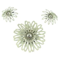 Signed Sarah Coventry enamel white flower Brooch and matching clip back Earrings