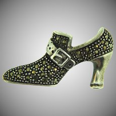Stamped 925 FAS small figural shoe Scatter Pin with marcasites
