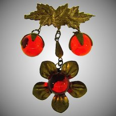 Early fall floral Brooch with karge orange glass balls