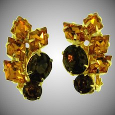 Vintage rhinestone clip back Earrings in fall topaz shades