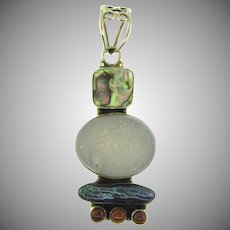 Stamped 925 silver pendant with druzy quartz, abalone and carnelian beads
