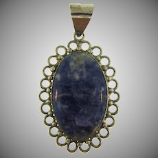 Stamped 925 pendant with blue jasper stone