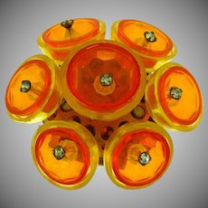 Unusual Lucite plastic Brooch in orange and yellow colors with crystal rhinestones