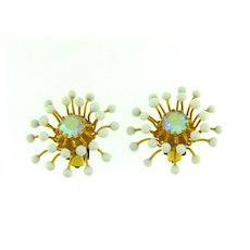 Vintage spiky clip back Earrings with AB rhinestone and white plastic beads