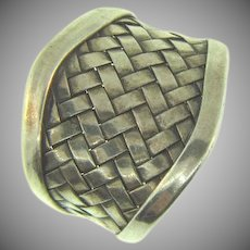 Stamped 925 sterling silver wide weaved band Ring size 10