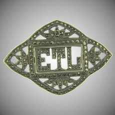 Vintage initialed ETL Brooch with marcasites
