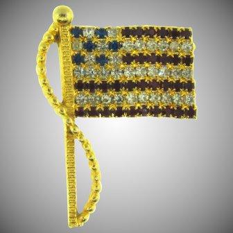 Signed Rafaelian patriotic American flag Brooch