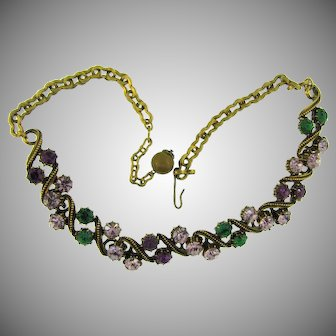 Signed Florenza choker Necklace with rows of rhinestones