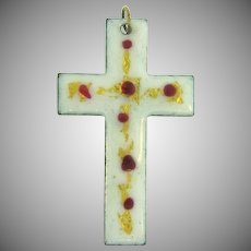 Vintage enameled copper Cross Pendant