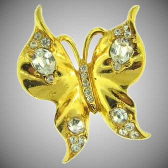 Signed Trifari gold tone with crystal rhinestones butterfly Ring