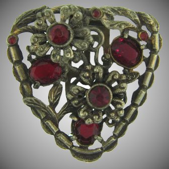 Vintage silver tone Dress Clip with red paste stones