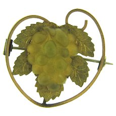 Early small figural grape vine Brooch with vaseline glass grape cluster