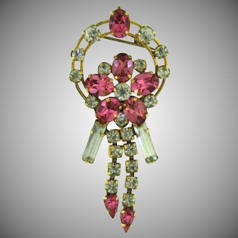 Signed Star-Art gold filled vintage retro Brooch with pink and crystal rhinestones