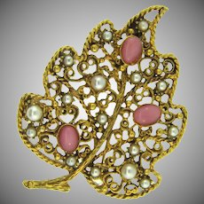 Signed Florenza large leaf Brooch with imitation pearls and pink glass cabochons