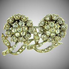 Signed Coro Duette floral design Fur Clips with crystal rhinestones