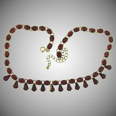 Signed Avon SP choker length Necklace with red plastic stones