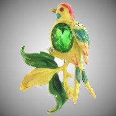 Vintage thermoset plastic jeweled bird Brooch