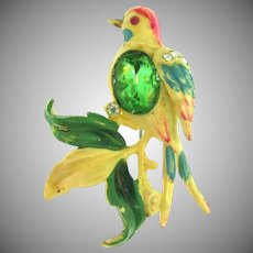 Vintage thermoset plastic jeweled bird Brooch