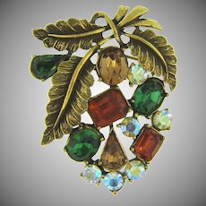 Vintage seasonal  Brooch with gold tone leaves and rhinestones in fall colors