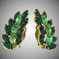 Vintage long clip back Earrings in shades of green rhinestones