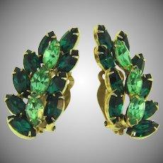 Vintage long clip back Earrings in shades of green rhinestones