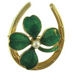 Vintage figural lucky horseshoe and 4 leaf clover Brooch