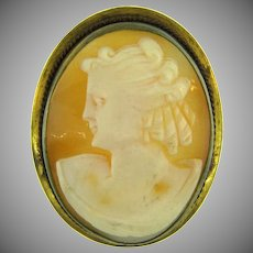 Vintage shell Cameo Brooch in gold tone frame