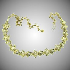 Vintage gold tone choker 1950's  Necklace with crystal rhinestones