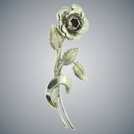 Signed M.B. sterling figural rose Brooch
