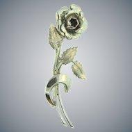 Signed M.B. sterling figural rose Brooch