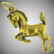 Vintage playful pony gold tone Pendant